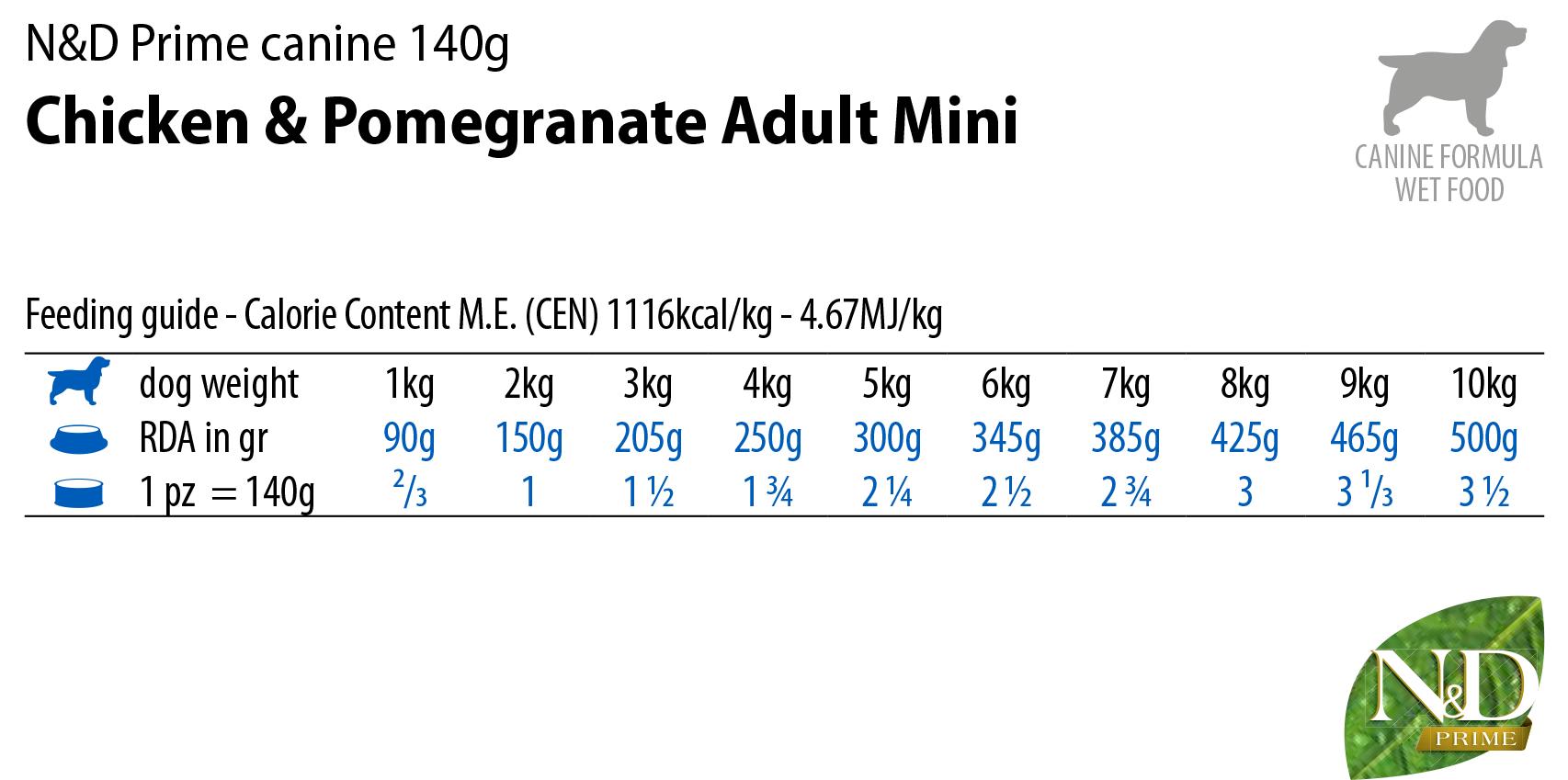 N&D Dog Wet Prime Chicken&Pomegranate Mini