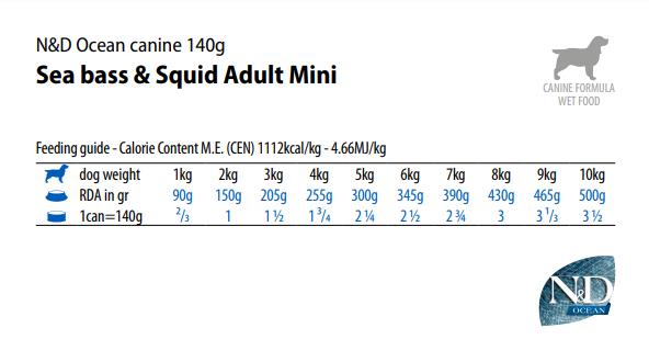 Норма N&D N&D Ocean dog sea bass & squid wet food&140g